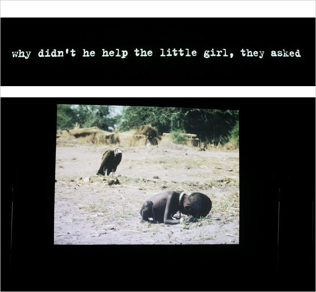 Alfredo Jaar, The Sound of Silence, 2006: Kevin Carter Pulitzer Prize-winning 1993 photograph of starvation in Sudan