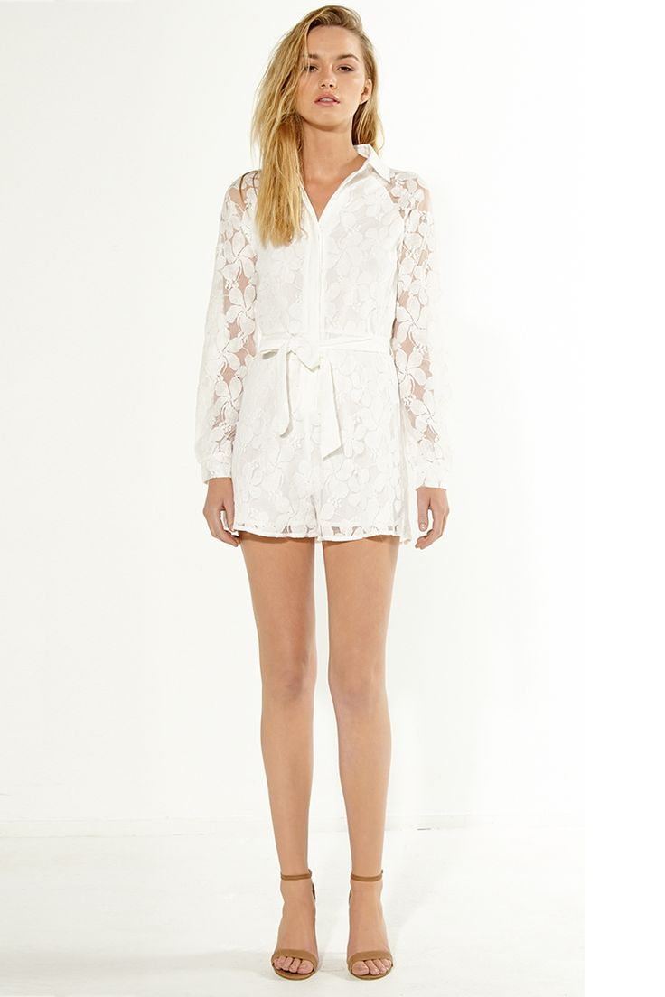 Cooper St - Modern Romance White Lace Playsuit