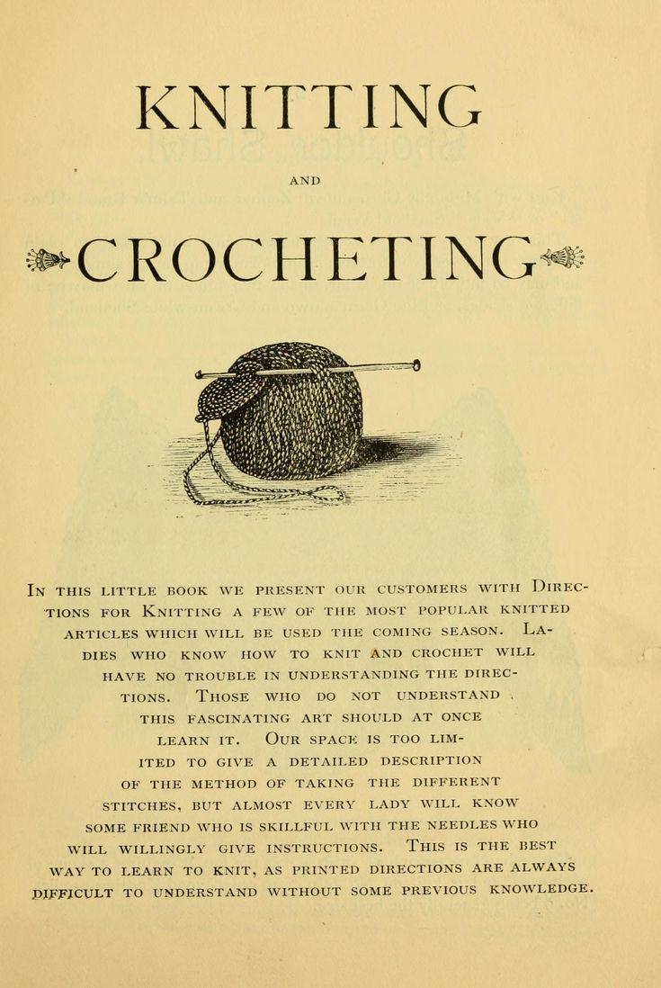 Knitting and crocheting.