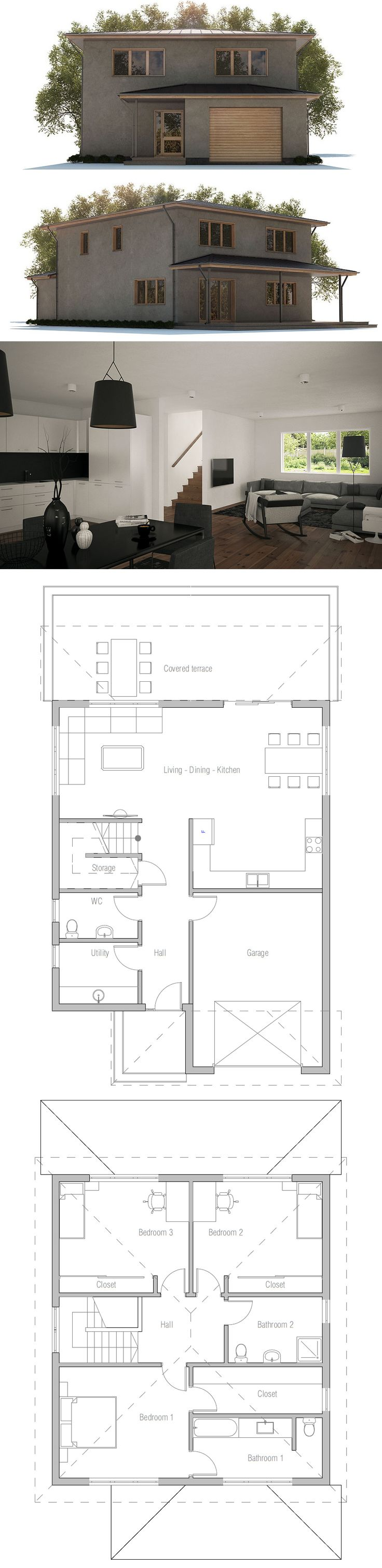 flor plan: 3 bdrms ... add closet in hall, flip kitchen and living/dining area, add big shower in master bath