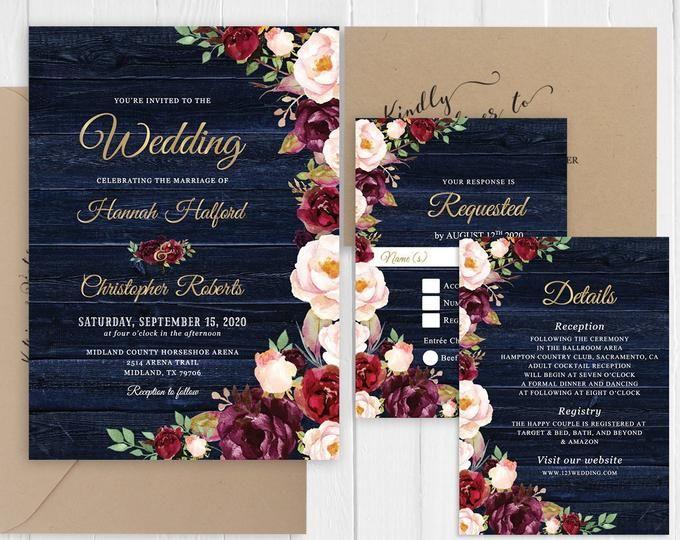 Rustic Burgundy Floral Fall Wedding Invitation,Marsala,Blush,Navy,Roses,Barn Wood,Gold Print,Shimmery,Custom,Printed Invitation,Wedding Set