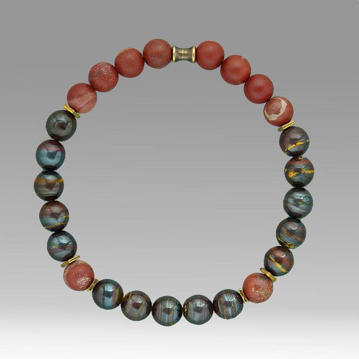 Boho Fathers Day Bracelet, Mens Beaded Bracelet, Jasper Bracelet, Tiger Iron Stone, Anniversary Gift, Elastic Bracelet, Hipster Bracelet by bleuluciole on Etsy