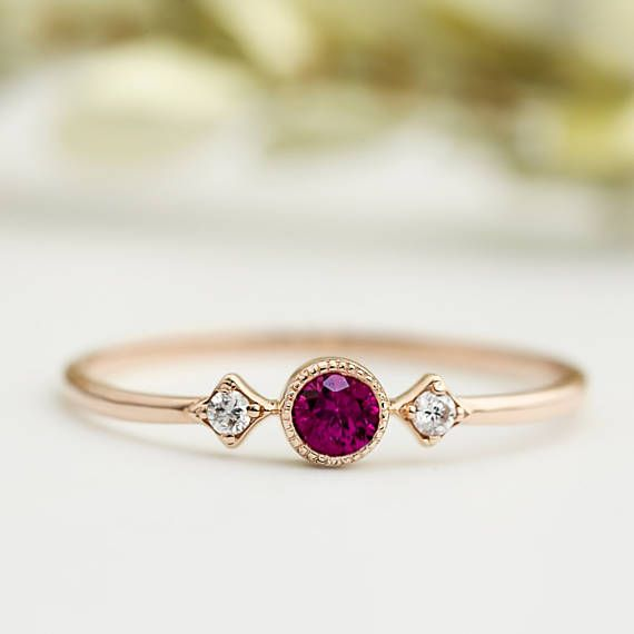 Vintage inspired Ruby three stone ring, Genuine Ruby engagement ring, Unique ruby engagement ring, Dainty small ruby, solid 14k gold