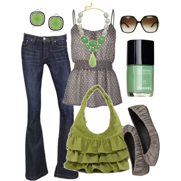 : Colors Combos, Polka Dots, Dreams Closet, Fashion Style, Green Accent, Spring Summ, Summer Outfits, Grey, Spring Outfits
