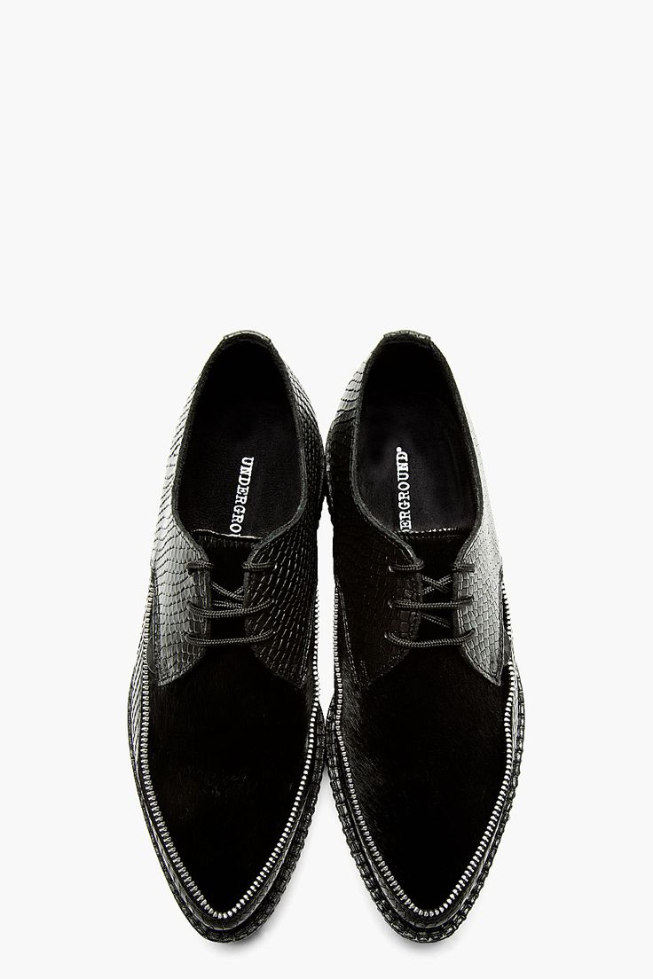 UNDERGROUND Black Etched Leather & Calfhair Creeper Shoes