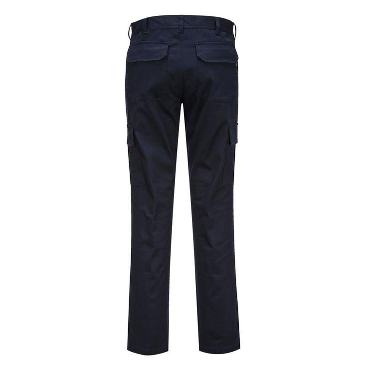 Pantalón Stretch Slim Combat Azul marino oscuro detalle trasero.