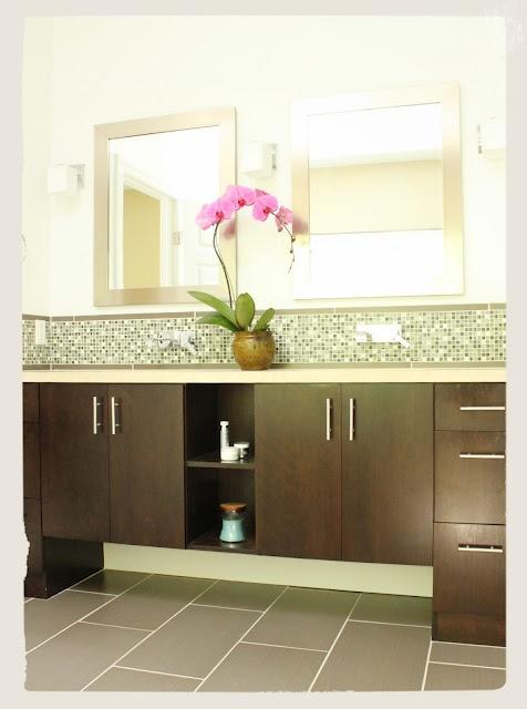 bathroom vanity mosaic tile backsplash designed by kelly berg - Bathroom Vanity Backsplash Ideas
