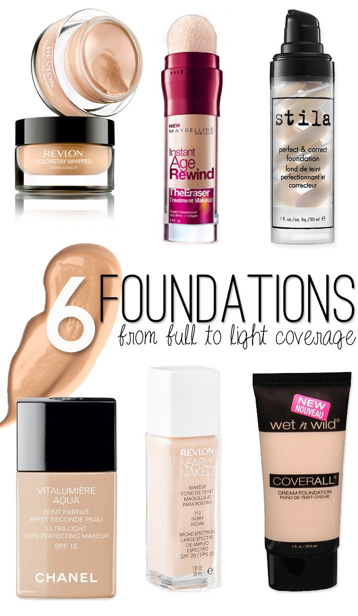 6 of the Best Foundations with light to full coverage! They work for pale gals! #makeup #beautytips