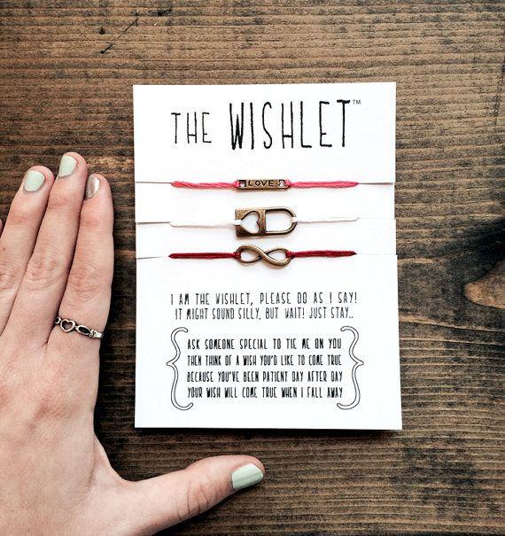 set of 3 letterhappy wishlets valentine gift set friendship bracelets wish bracelets best friend valentine infinity jewelry letterhappy etsy on Etsy, $14.00