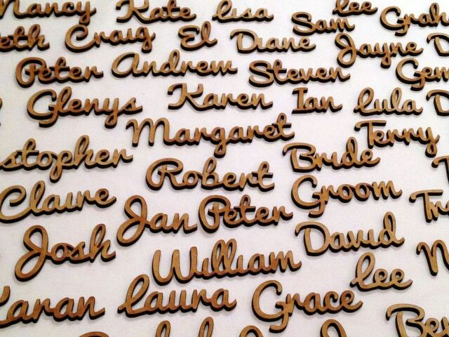 Laser cut wooden name places
