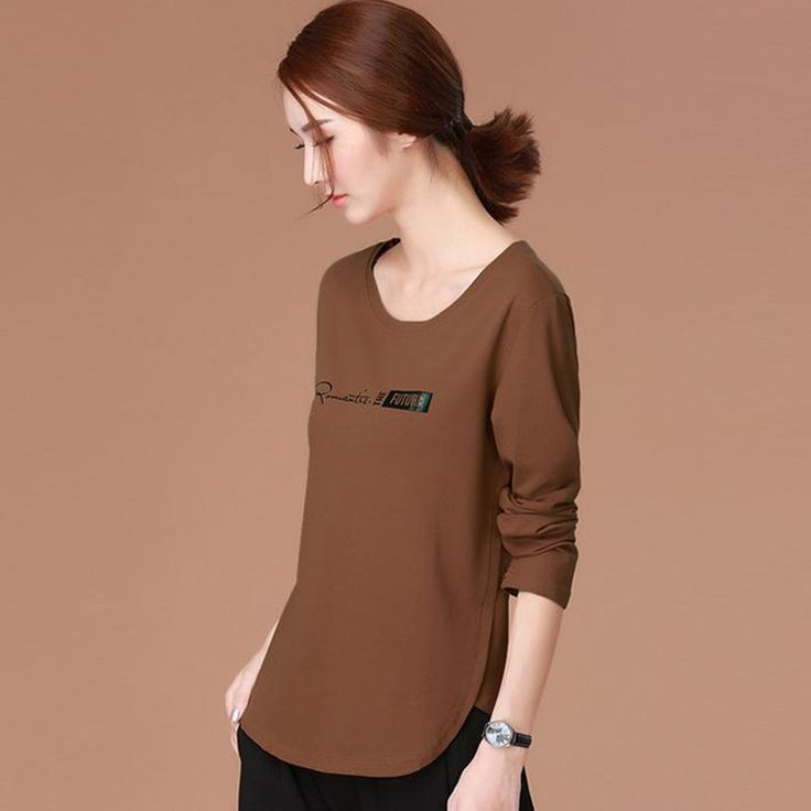 2017 spring new letter print long sleeves t-shirt women round neck wide loose cotton ladies clothing Tops Brown Women's Tees
