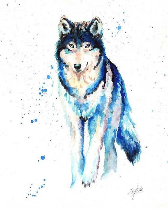 Archival Wolf Watercolor Art Animal Contemporary Blue Splash