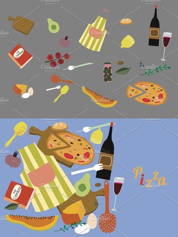 Pizza /vector set #vegetables