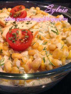 Majonézes kapros füstölt sajtos kukorica saláta