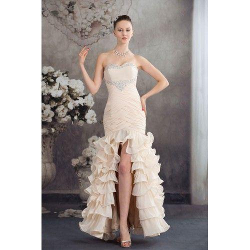 Hasta El Suelo Escote Corazón Organza Apertura Frontal Vestidos Largos de Fiesta