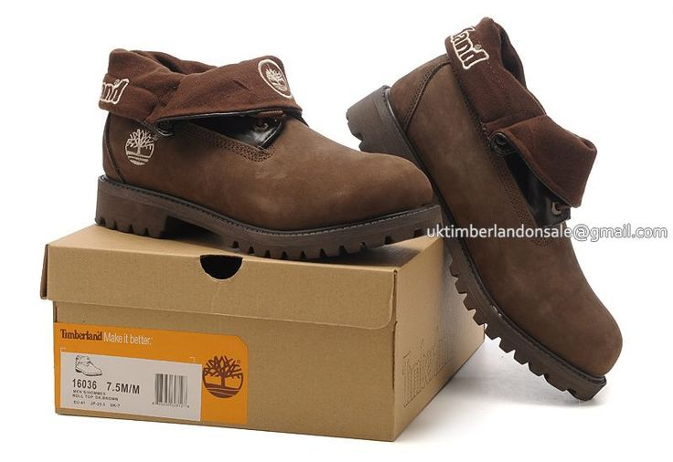 Men's Timberland Roll Top Boots Waterproof Brown Black $ 81.00