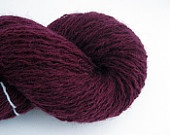 Plum Purple Wool Blend Recycled Yarn, Light Fingering Weight, 500 yards