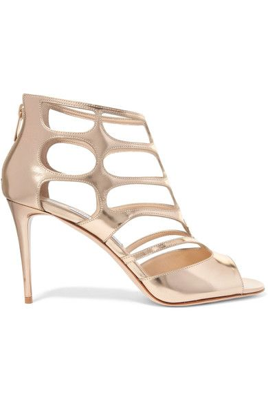 Jimmy Choo - Ren Cutout Mirrored-leather Sandals - Gold - IT