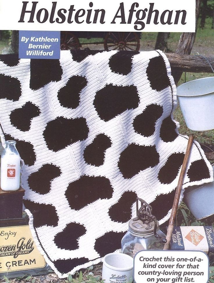 ... Afghan Crochet Pattern Cow Blanket Throw Black White - Afghans