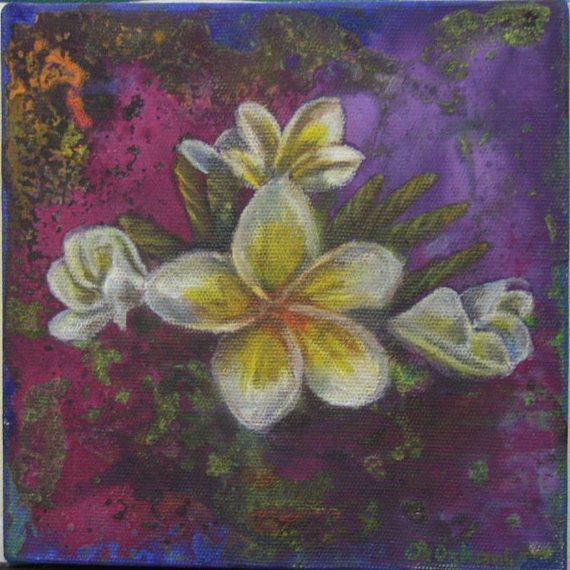 6x6 inches oil painting white flowers