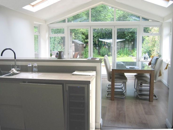 Kitchen Extension. love he apex wall/door combo out ino the garden