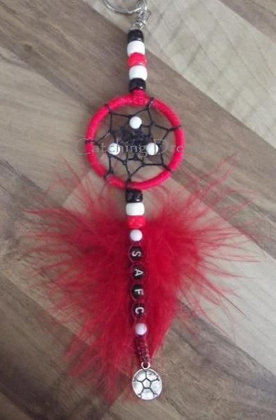 Sunderland (SAFC) Themed Keyring/Bag Dangler Dream Catcher with lettering and Football charm. 4.00. P P 2.40. Other colours/charms are available