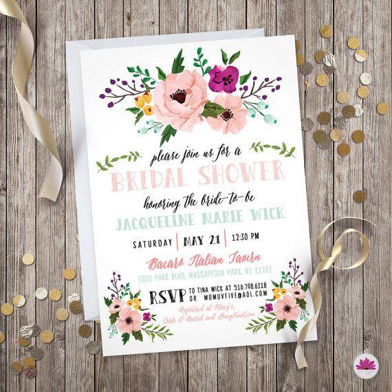 Spring Rustic Bridal Shower Invitation! Floral Bridal Shower Invite!