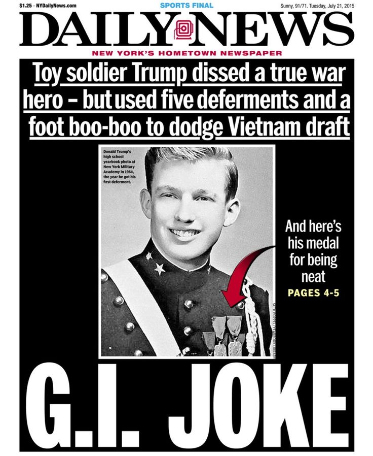 The front page on July 21, 2015 shows a teenage Donald Trump at a military academy, and calls him out for dodging the Vietnam War with student deferments, after he called out war hero John McCain.