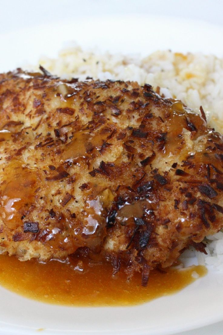 Coconut Chicken with Pina Colada Dip - Weight Watchers (7 Points)