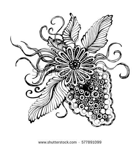 image of wild grapes, stylized vector illustration Indian decorative element. Ethnic Tattoo bunch, floral ornament with leaves, design of printed materials. symbol, line drawing berries