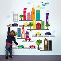 French Bull City Wall Stickers:  Beep beep! Add instant energy to your nursery, playroom, or classroom walls with a booming peel and stick city. Inspire your child's imagination with colorful cars, buildings, streets, and outdoor elements for creating countless city scenes. Build one long block to span a large wall or keep this repositionable cityscape casually clustered. Remove and reuse these city wall stickers to design a totally new metropolis without damaging your walls.