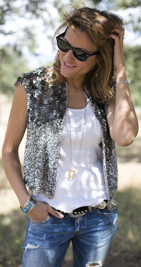 Zara Silver Sequin Crop Vest by Guiadeestilo