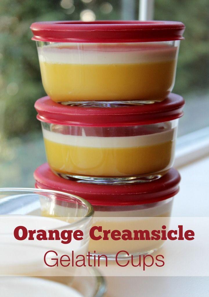 Homemade Creamsicle Gelatin Cups #desserts #snacks #gelatin #creamsicle