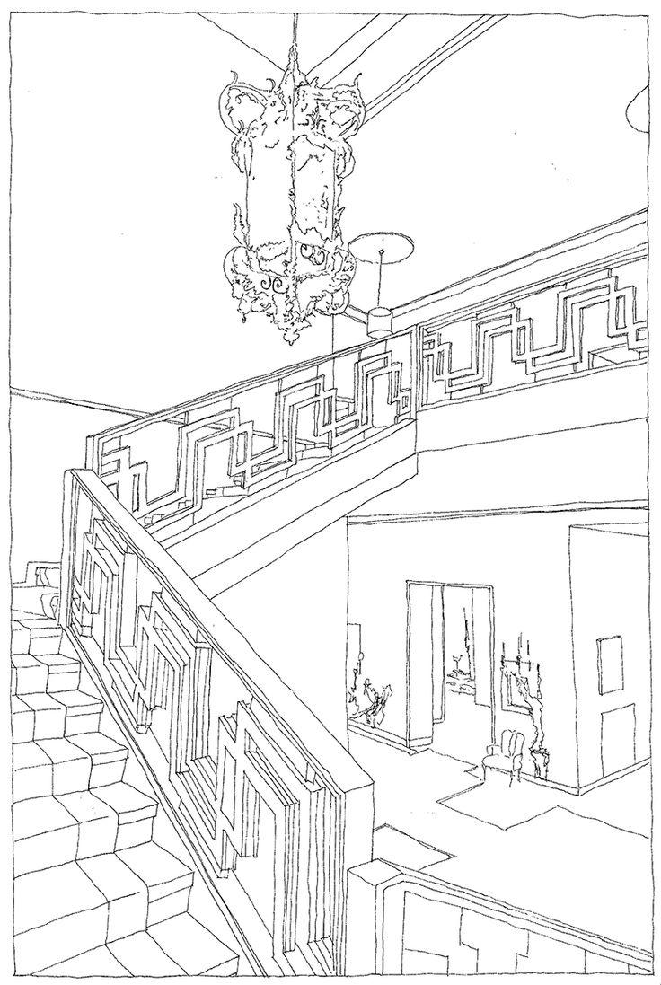 Piero Portaluppi, Villa Necchi, Milano, Italia, 1932-1935 | drawn by Riccardo Salvi
