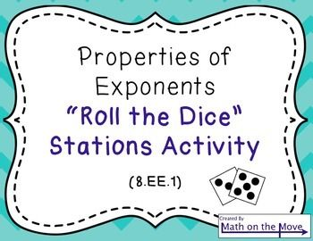This activity uses half-sheet task cards in six stations, reviewing the following properties:  Product of Powers Property Power of a Power Property Power of a Product Property Quotient of Powers Property Power of a Quotient Property Rules of Zero and Negative exponents*  Students roll a die to complete an expression with exponents, then simplify it.