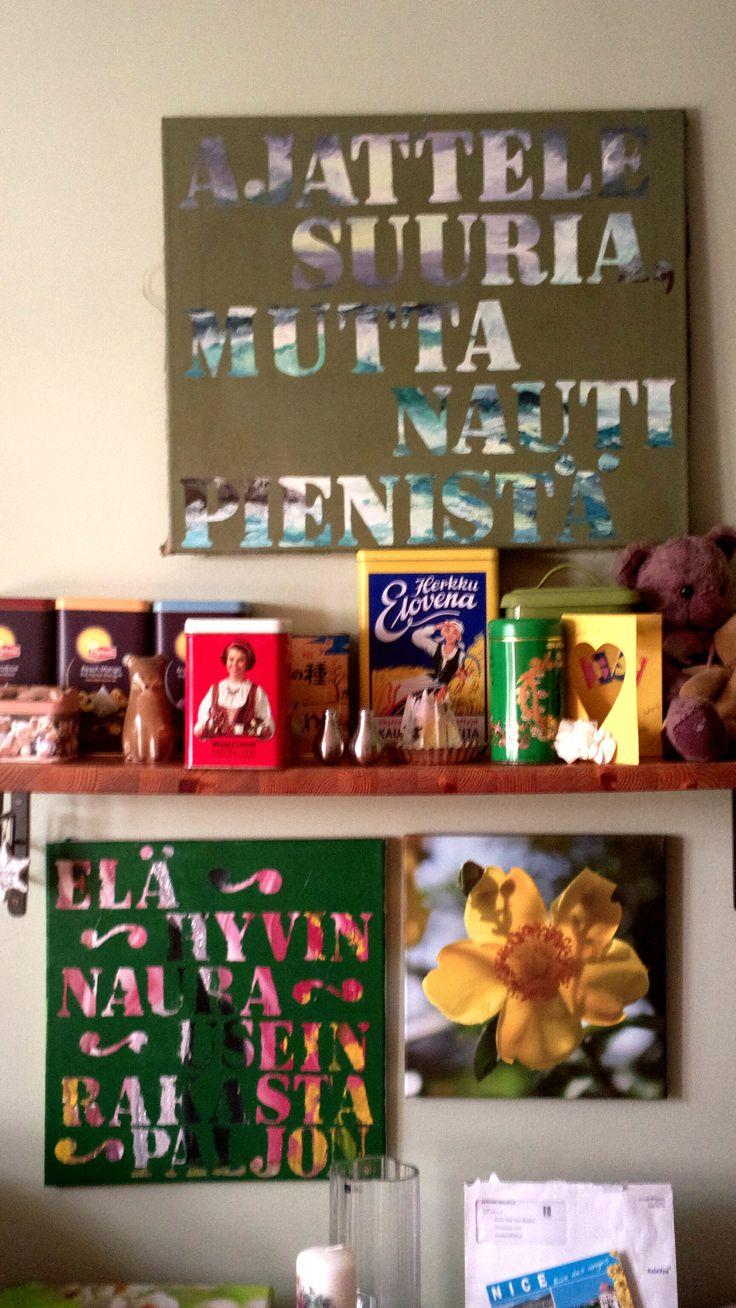 Huonetauluni keittiössä, ihan itse tehdy.