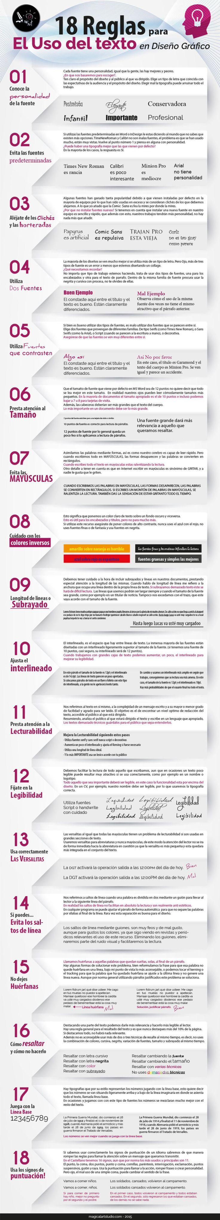 18 reglas para el uso de Texto en Diseño Gráfico #infografia #infographic #design