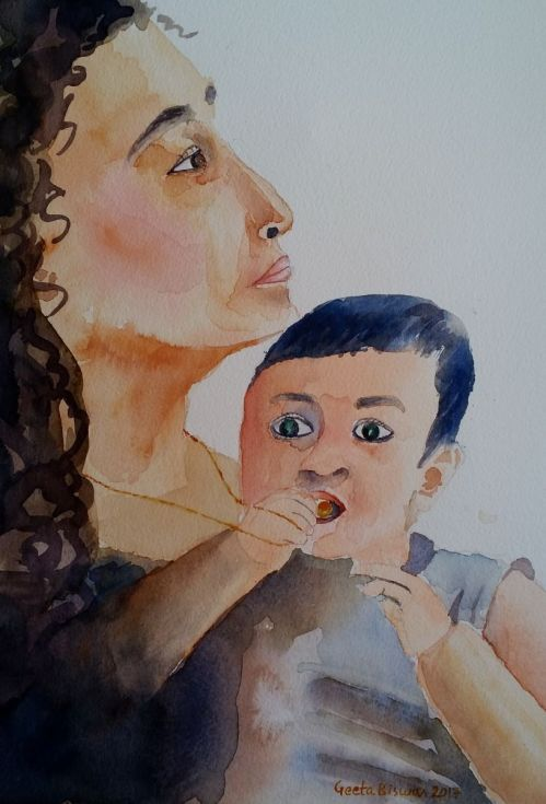 Buy Mother and child, Watercolor by Geeta Biswas on Artfinder. #watercolor #art #painting #under$200 #gift #souvenir #contemporaryart #originalart #mother #child #people #baby #portrait #love