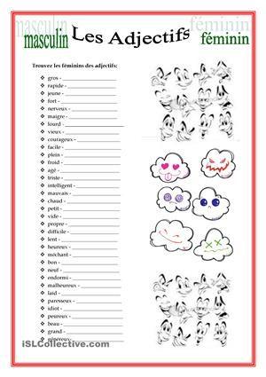 Ecrivez les féminins des adjectifs - Fiches FLE