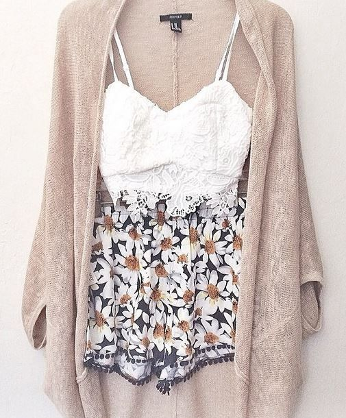 love the light colors for spring. the printed shorts give the outfit something extra.