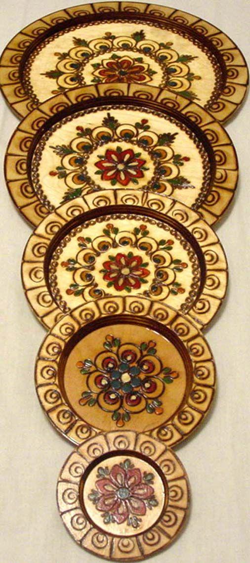 polish wooden folk art plates