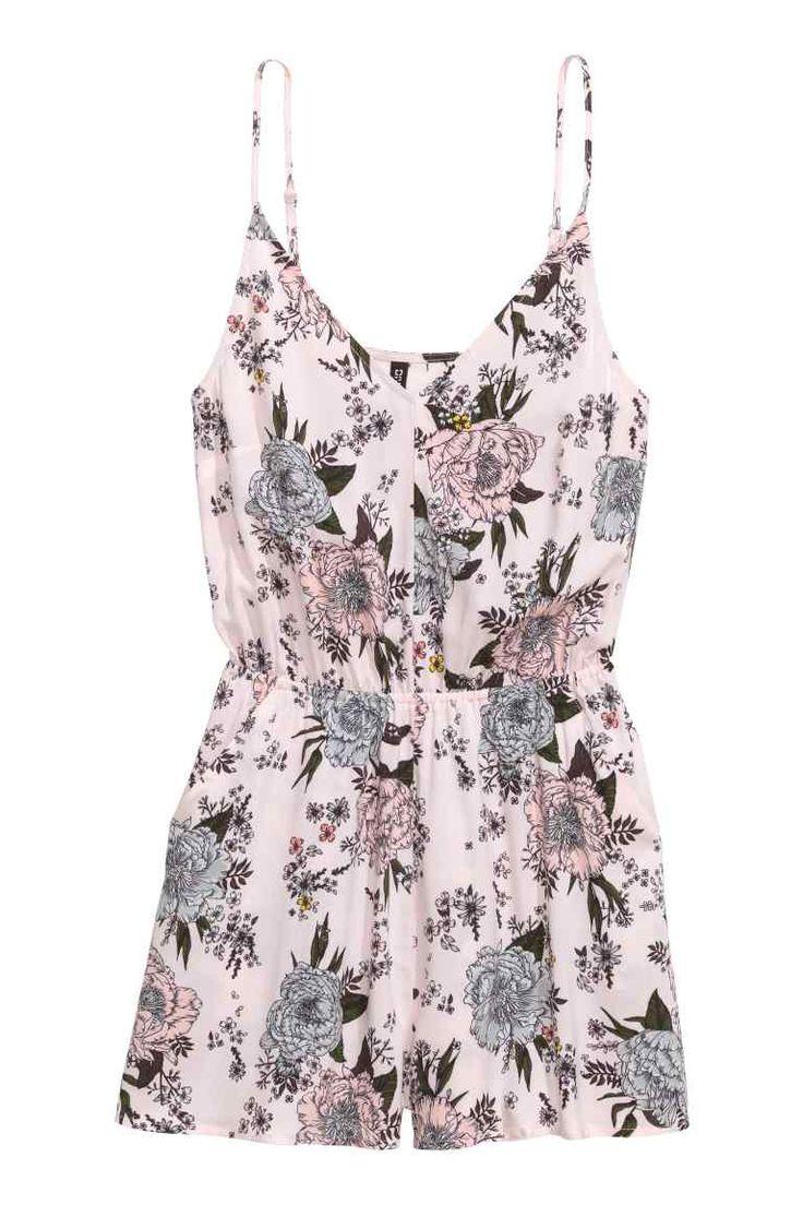Korte jumpsuit - Lichtroze/bloemen - DAMES | H&M NL