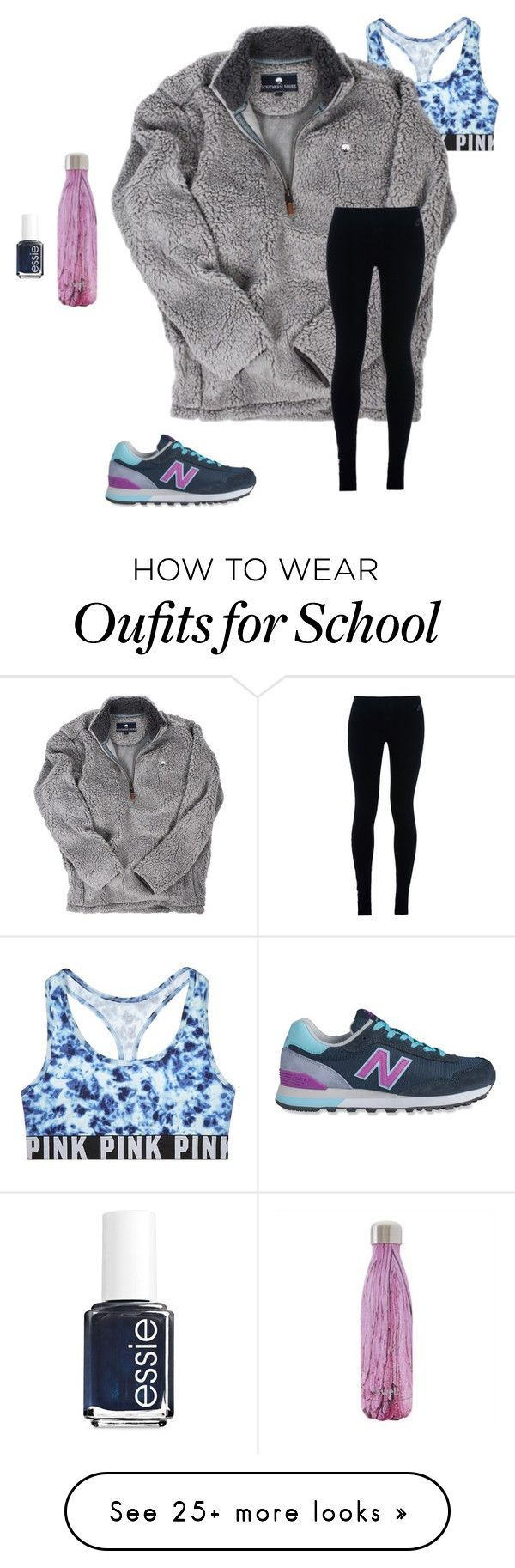 """school tomorrow "" by mckenzie-carr0ll on Polyvore featuring Victoria's Secret, NIKE, New Balance and Essie"