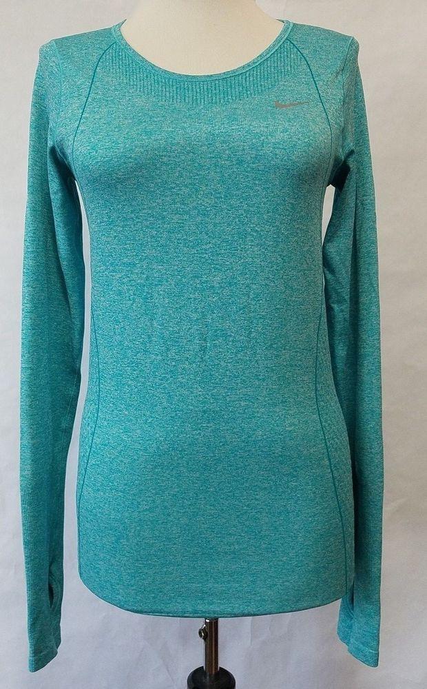 c210870a Nike Women's Dri-FIT Knit Long Sleeve T-Shirt Running sz S Turbo green  heather #Nike #ActivewearLongSleeve
