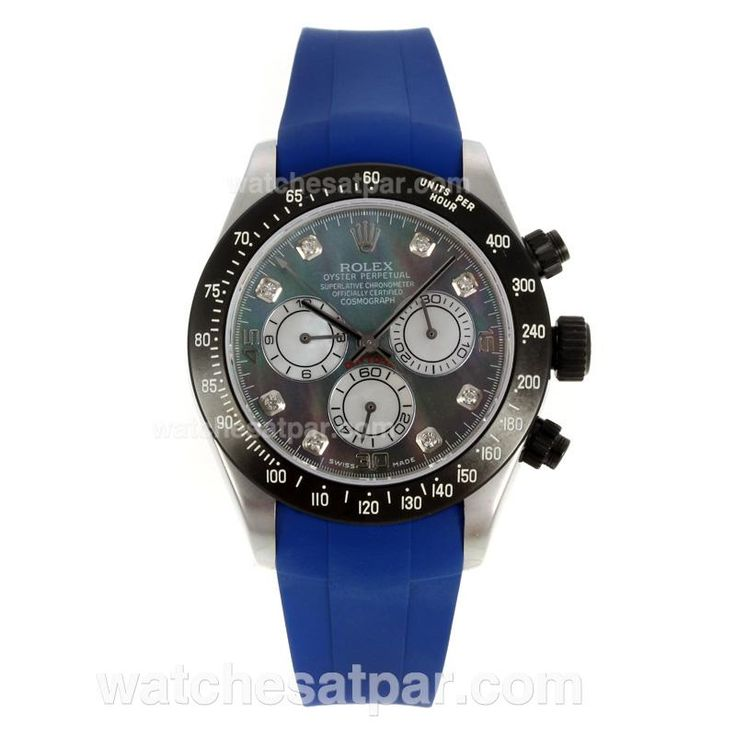 Rolex Daytona Chronograph, Swiss Valjoux 7750 Movement, PVD Bezel, Diamond Markers with MOP Dial, Blue Rubber Strap , Man Size(40mm), $308.00 with Free Shipping. Inexpensive IWC Replica Sale: pinterest.com/watchessatpar/inexpensive-iwc-replica-sale/