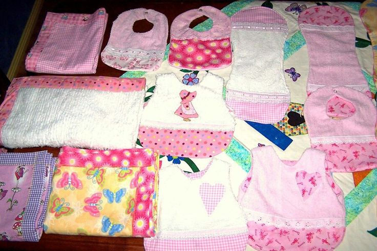 Blankets, bibs and birp cloths I made for Bella when she was a baby.