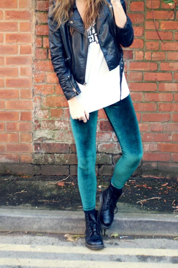 Velvet leggings -- surprisingly cute look, although this one is a maybe.