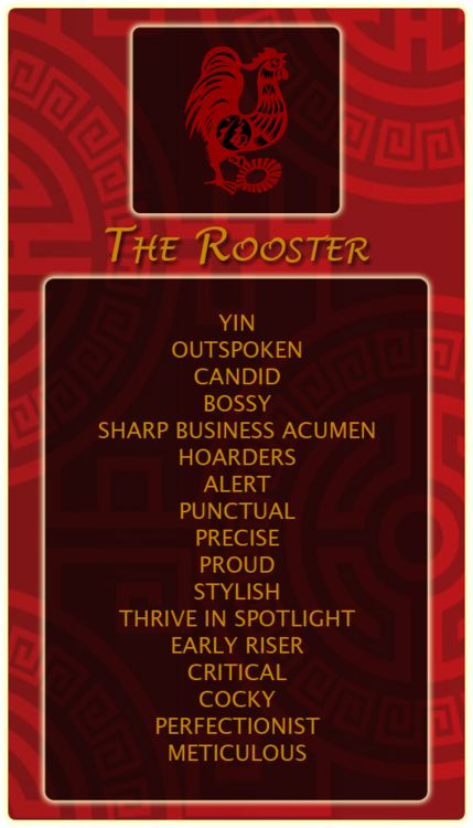 Chinese Signs: Rooster - Register at our site and find out your Chinese animal sign!http://bit.ly/1dqeH58