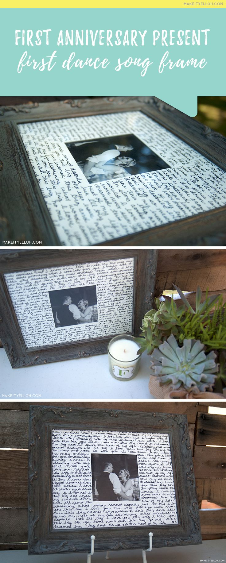 "This is such a cute idea for the traditional first anniversary theme ""Paper""!  -  First Dance Song Lyrics Frame"