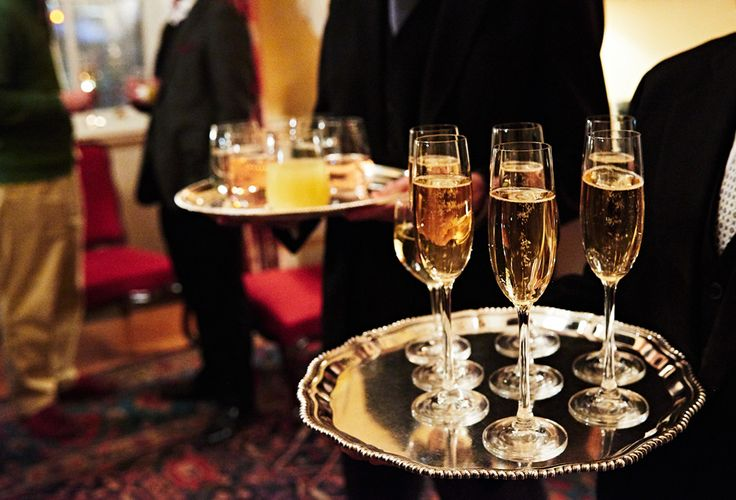Champagne served in the Ante Room at an event at Spencer House, London.